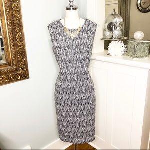 Calvin Klein Black & White Pattern Sheath Dress